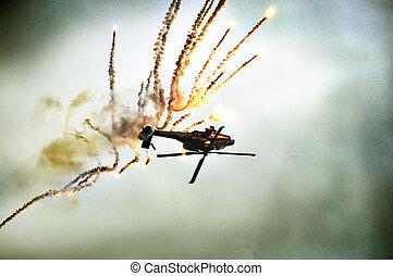 helicóptero, Caer, Abajo, cielo, explosión