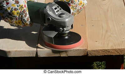 grinder tool grinding wooden table