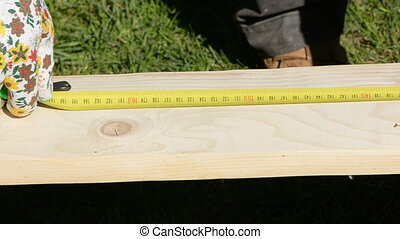 carpentry measure wood plank