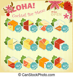 Menu design for Cocktail Bar - set of alcoholic Beverages...