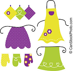 Retro apron set isolated on white - Stylized vintage apron...