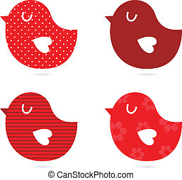 Birds vector set isolated on white red - Retro birds...