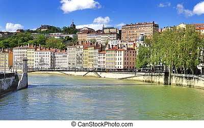Lyon view, France - part of the city of Lyon, France