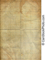 Sheet of graph folding paper stained by coffee background