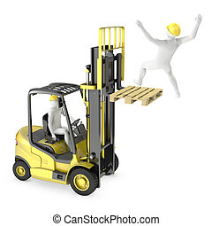 Abstract white man falling from lift truck fork, due to...