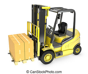 Yellow fork lift truck with stack of carton boxes, isolated...