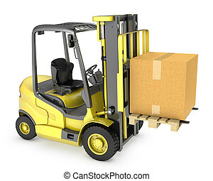 Yellow fork lift truck with large carton box, isolated on...