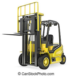 Yellow fork lift truck with raised fork, front view,...