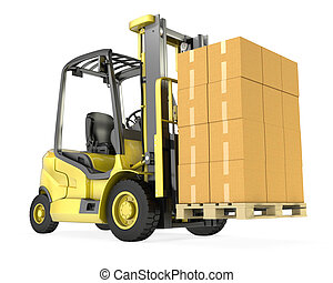 Yellow fork lift truck with big stack of carton boxes,...