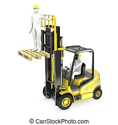 Abstract white man in a fork lift truck, lifting other...