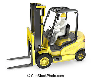 Abstract white man in a fork lift truck, isolated on white...