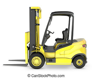 Yellow fork lift truck side view, isolated on white...