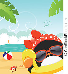 Summer Penguin - Cute little female penguin enjoying beach