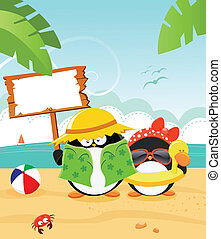 Summer Message - Cute little penguin's summer message[