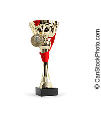 First Place - Award cup with gold medal on white background....