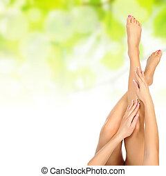 femininas, pernas, sendo, massaged, sobre, verde