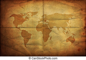 world map on old grunge folding paper background