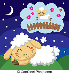 Sheep counting Sheep - White sheep counting sheep jumping...