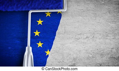 Painting flag on the wall - EU - Roller painting EU flag on...