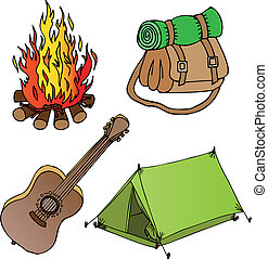 Camping objects collection 1 - vector illustration.