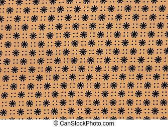 Black flower texture on Cream Fabric
