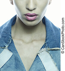 girl face and lips with jeans jacket