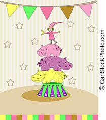 circus card vector