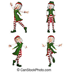 Christmas Elf Pack - 2of6 - Illustration of a pack of four 4...