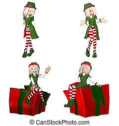Christmas Elf Pack - 1of6 - Illustration of a pack of four 4...