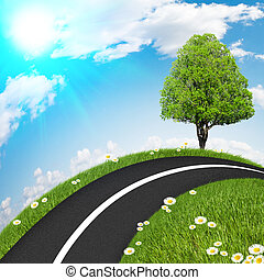 Asphalt road with a tree, grass and clear skies