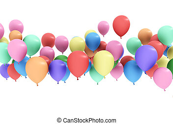 Colorful balloon floating isolated white background
