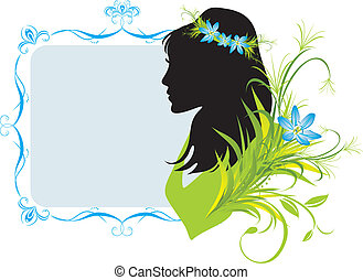 Woman with flowers. Frame