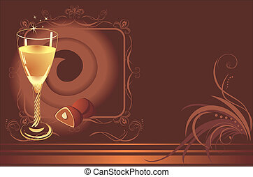 Glass with champagne and chocolate candies. Background for...