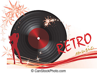 Phonograph record. Retro composition for banner. Vector...