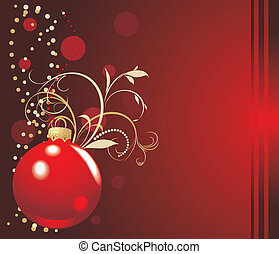 Red ball with Christmas tinsel. Holiday card. Vector...