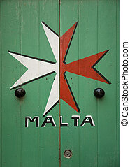 maltese cross painted on door in malta island europe - malta...