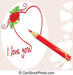 Red pencil and heart with rose