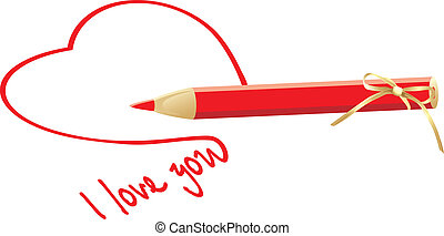 Heart and red pencil with bow