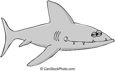 Sinister Shark - This illustration depicts a cartoon shark...