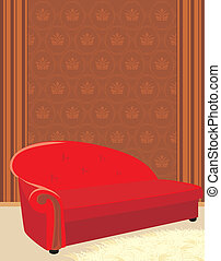 Red sofa and shaggy carpet. Vector illustration