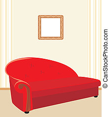 Red stylish sofa. Vector illustration