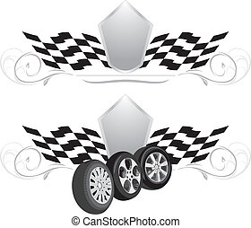 Wheels. Two icons for design. Vector illustration