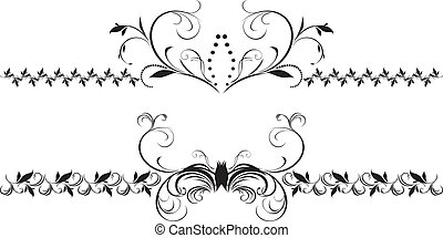 Two decorative floral borders for design Vector illustration...