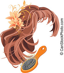 Wig and hairbrush. Vector illustration