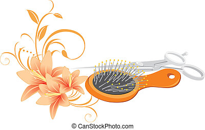 Hairbrush, scissors and lilies - Hairbrush, scissors and...