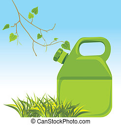 Petrol canister and birch sprig with grass. Vector...