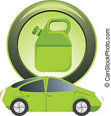 Button with petrol canister. Vector illustration