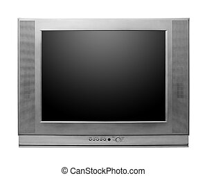 CRT TV With Screen Clipping Paths Included isolated on white...