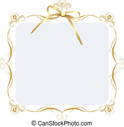 Decorative frame with golden bow. Vector illustration