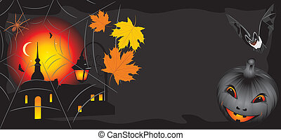 Pumpkin with maple leaves and bat
